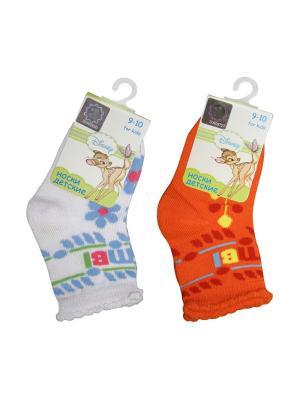 Носки 2 пары Master Socks. Цвет: белый, оранжевый