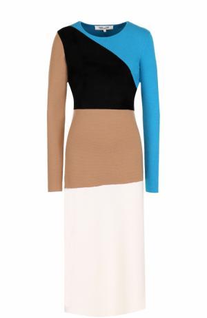 Приталенное шерстяное платье с длинным рукавом Diane Von Furstenberg. Цвет: разноцветный