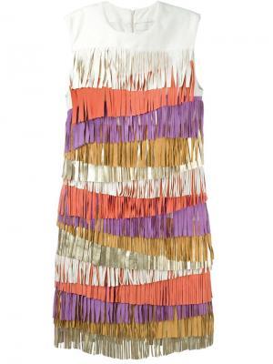 Платье с бахромой Drome. Цвет: многоцветный