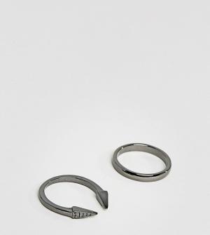 DesignB London 2 кольца эксклюзивно для ASOS. Цвет: серебряный