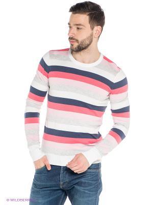 Джемпер Oodji. Цвет: розовый, белый, серо-голубой