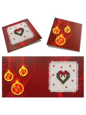 Набор для изготовления открытки Новогодний венок ZENGANA. Цвет: красный