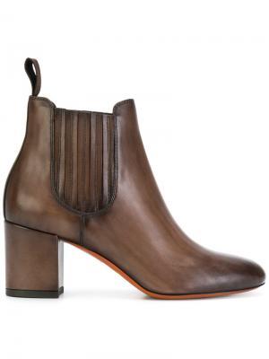 Ботинки Челси на каблуках-столбиках Santoni. Цвет: коричневый