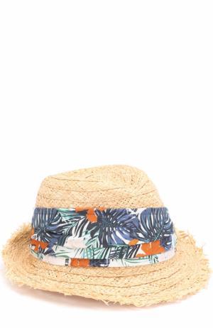 Соломенная шляпа с контрастной лентой Il Trenino. Цвет: разноцветный