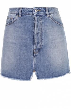Джинсовая мини-юбка с карманами и бахромой Iro. Цвет: голубой