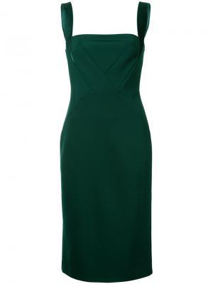 Платье на широких лямках с разрезом Dion Lee. Цвет: зелёный