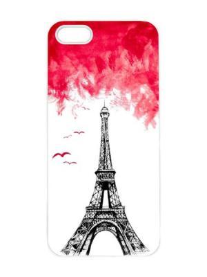 Чехол для iPhone 5/5s Эйфелева в закате Арт. IP5-045 Chocopony. Цвет: белый, черный, красный