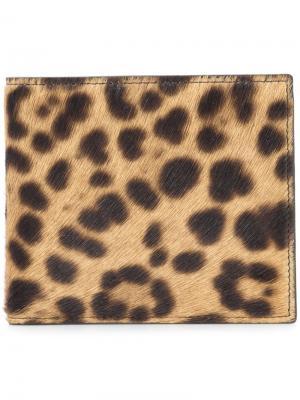 Бумажник с леопардовым принтом Maison Margiela. Цвет: телесный