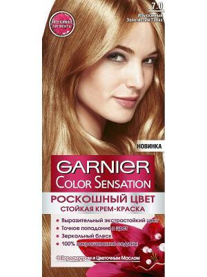 Стойкая крем-краска для волос Color Sensation, Роскошь цвета, оттенок 7.0, Изысканный золотистый т Garnier. Цвет: золотистый