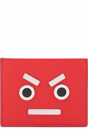 Кожаный футляр для кредитных карт с отделкой Fendi. Цвет: красный