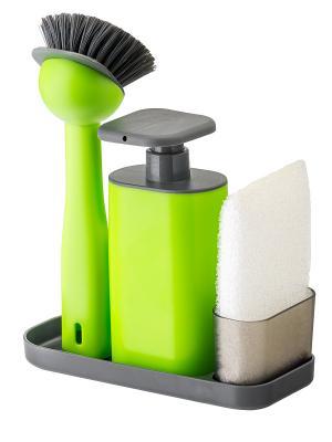 Дозатор, губка, щетка VIGAR. Цвет: салатовый