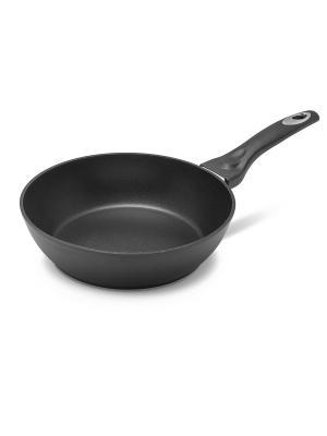Сковорода глубокая Титан с антипригарным покрытием, индукция 24 см MOULINvilla. Цвет: черный