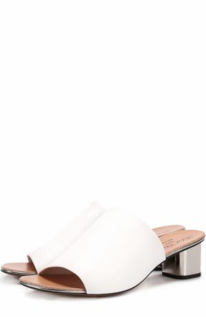 Кожаные сабо на устойчивом каблуке ROBERT CLERGERIE. Цвет: белый