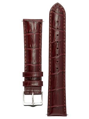 Классический ремешок для часов из кожи теленка с фактурой под аллигатора, Ширина от 14 до 24 мм Signature. Цвет: коричневый
