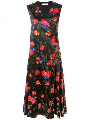 Платье с цветочным принтом Céline Vintage. Цвет: чёрный