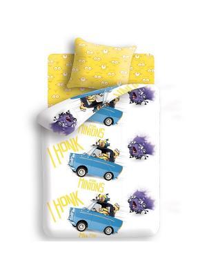 Комплект постельного белья 1,5 бязь Погоня Миньоны. Цвет: желтый
