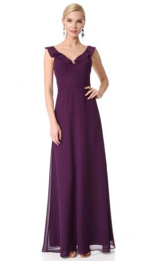 Вечернее платье с V-образным вырезом оборками Monique Lhuillier Bridesmaids. Цвет: сливовый