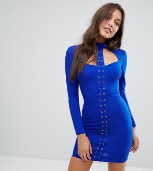 Ginger Fizz Облегающее платье мини со шнуровкой. Цвет: синий