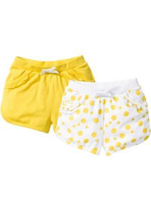 Трикотажные шорты (2 шт.) (белый с рисунком + желтый) bonprix. Цвет: белый с рисунком + желтый