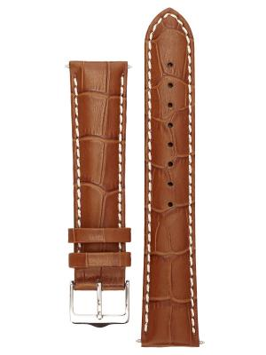 Ремешок для часов с контрастной строчкой из теленка фактурой под аллигатора. Ширина от 14 до 24 мм Signature. Цвет: светло-коричневый