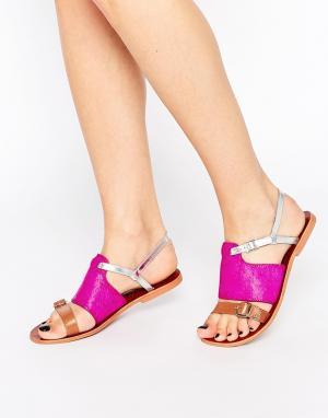 Ravel Кожаные сандалии на плоской подошве с ремешками. Цвет: розовый