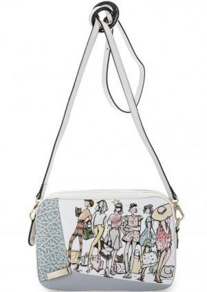 Маленькая кожаная сумка с двумя отделами Curanni. Цвет: мультиколор