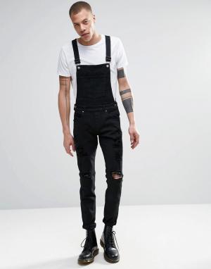 Dr Denim Черный джинсовый комбинезон скинни с прорехами Ira. Цвет: черный