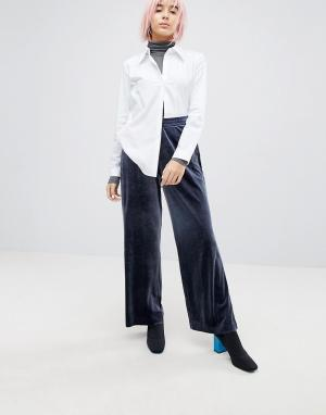 Weekday Бархатные брюки. Цвет: темно-синий
