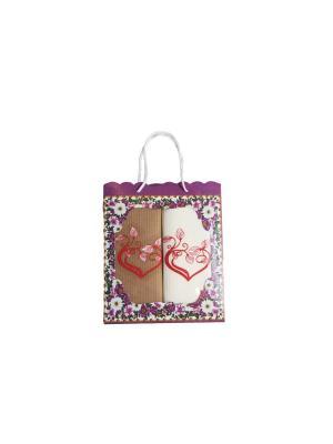 Набор вафельных полотенец из 2-х шт.Сердечки Dream time. Цвет: светло-коричневый, кремовый