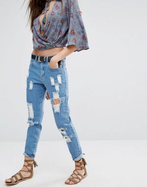 Honey Punch Рваные джинсы бойфренда. Цвет: синий