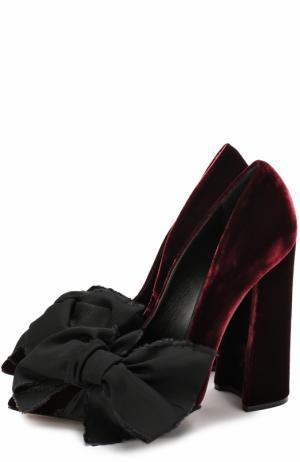 Бархатные туфли Babo с бантом Aleksandersiradekian. Цвет: бордовый