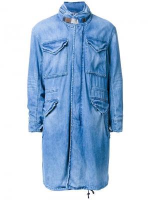 Джинсовое пальто с накладными карманами monkey time. Цвет: синий