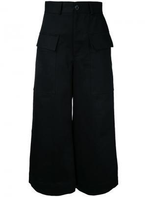 Укороченные широкие брюки Studio Nicholson. Цвет: чёрный