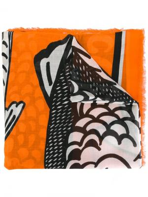 Платок с принтом Stella McCartney. Цвет: жёлтый и оранжевый