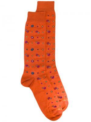 Носки с принтом Etro. Цвет: жёлтый и оранжевый