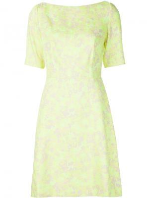 Платье с цветочным принтом Lela Rose. Цвет: жёлтый и оранжевый