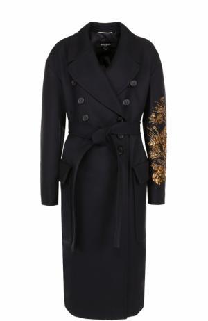 Двубортное пальто с поясом и вышивкой пайетками Rochas. Цвет: темно-синий