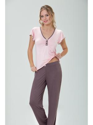 Комплект кофта и брюки MARIPOSA. Цвет: коричневый, персиковый