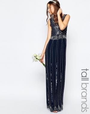 Maya Tall Винтажное платье макси с отделкой. Цвет: темно-синий
