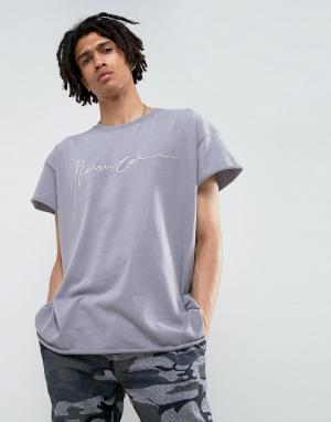 Mennace Сиреневая футболка классического кроя с вышивкой. Цвет: фиолетовый