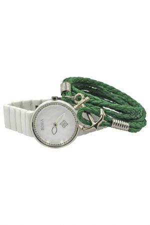 Набор: часы, браслет BORA. Цвет: белый, зеленый