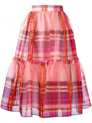 Клетчатая юбка с оборками Daizy Shely. Цвет: жёлтый и оранжевый