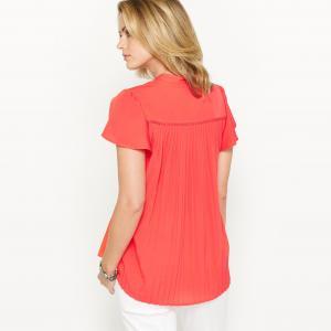 Блузка из крепа с плиссировкой на спине ANNE WEYBURN. Цвет: белый,красный