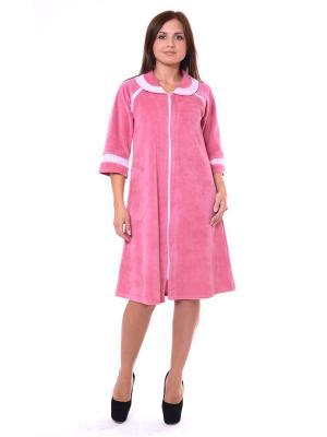 Велюровый халат Тефия. Цвет: розовый