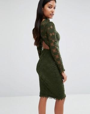Rare Кружевное облегающее платье с открытой спиной London. Цвет: зеленый