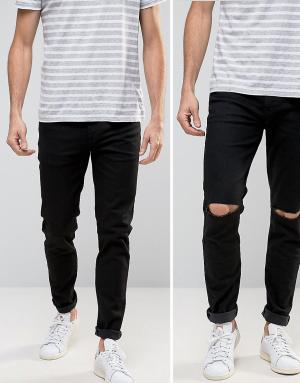 ASOS 2 пары джинсов (черные и черные рваные). Цвет: черный