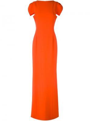 Длинное платье с короткими рукавами Antonio Berardi. Цвет: жёлтый и оранжевый