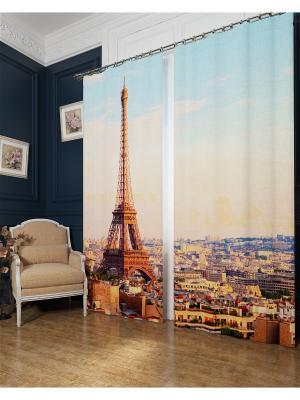 Фотошторы Просыпающийся Париж, Блэкаут Сирень. Цвет: голубой, коричневый, оранжевый, серый