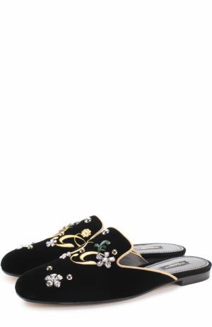 Бархатные сабо с вышивкой и кристаллами Dolce & Gabbana. Цвет: черный