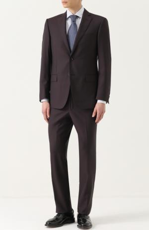 Шерстяной костюм с пиджаком на двух пуговицах Pal Zileri. Цвет: бордовый